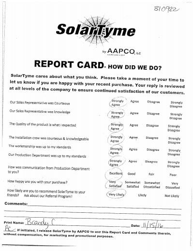 Brandi C -SolarTyme Report Card