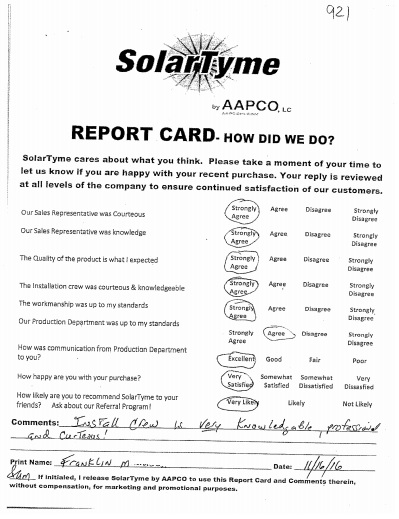 Franklin M -SolarTyme Report Card