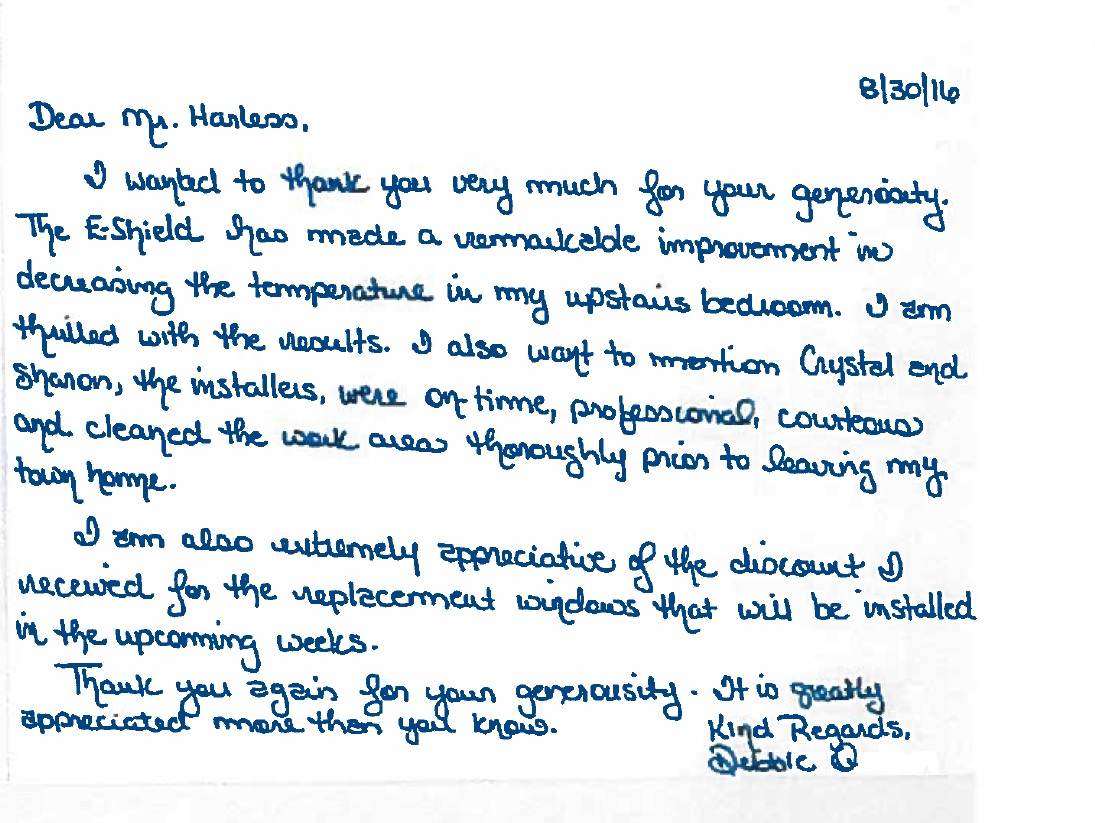 eShield Thank You Note from Debbie Q from Midlothian, VA