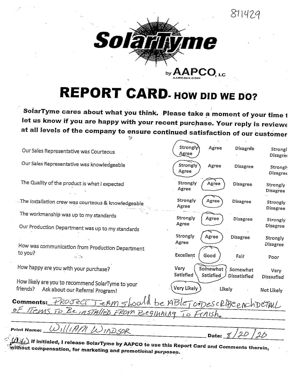 William Windsor SolarTyme Report Card